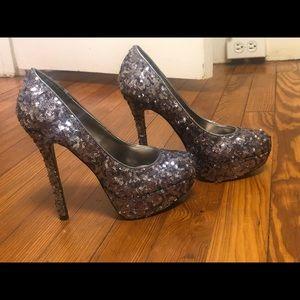 Bakers Silver Sequin Heels